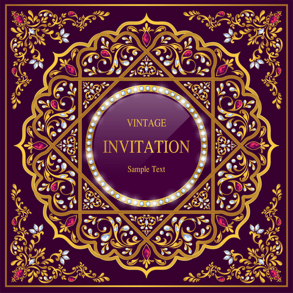 India Styles Vintage Invitation Card Vector Template 12 Free