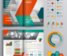 Infographic with modern brochure template vector 01
