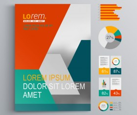 Infographic with modern brochure template vector 02