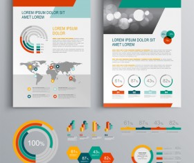 Infographic with modern brochure template vector 03