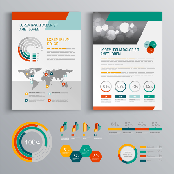 Infographic With Modern Brochure Template Vector Vector - Infographic brochure template