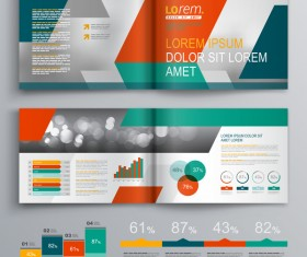Infographic with modern brochure template vector 04