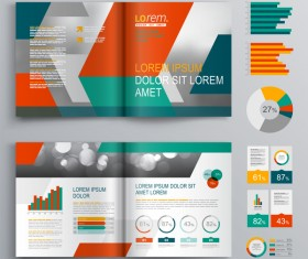 Infographic with modern brochure template vector 05