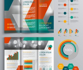 Infographic with modern brochure template vector 06