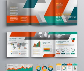 Infographic with modern brochure template vector 07