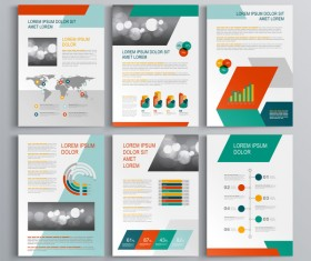 Infographic with modern brochure template vector 08