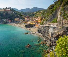 Italian seaside tourism Cinque Terre Stock Photo 01