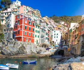 Italian seaside tourism Cinque Terre Stock Photo 04
