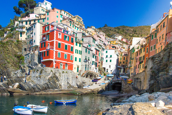 Italian seaside tourism Cinque Terre Stock Photo 04
