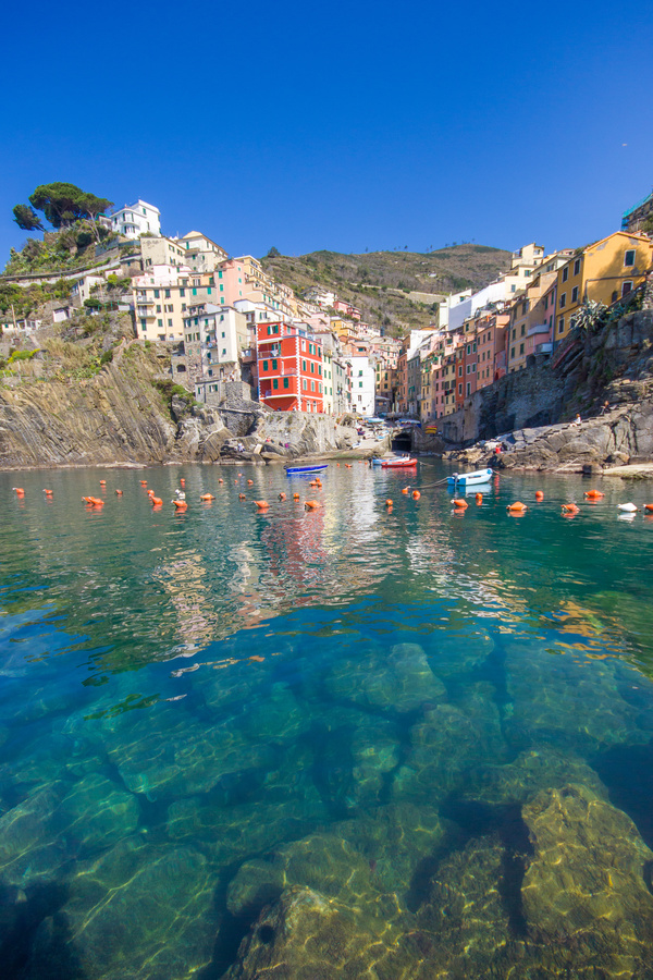 Italian seaside tourism Cinque Terre Stock Photo 05