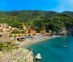 Italian seaside tourism Cinque Terre Stock Photo 07