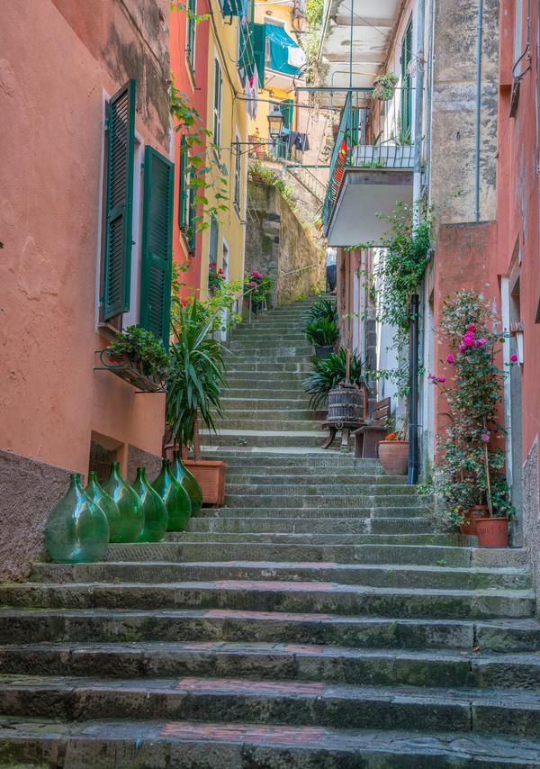 Italian seaside tourism Cinque Terre Stock Photo 08