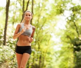 Jogging workout girl Stock Photo