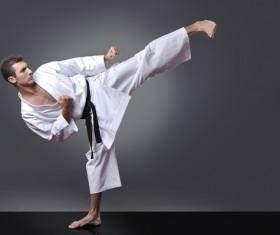 Karate side kick Stock Photo