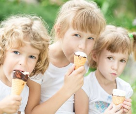 Kids eating ice cream Stock Photo