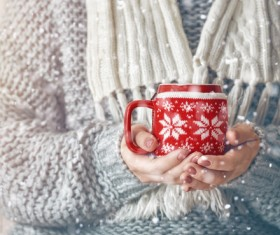 Knit coffee cup set Stock Photo
