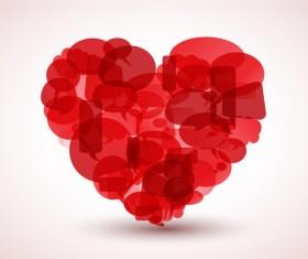 Komiksove bubliny overlay red heart vector