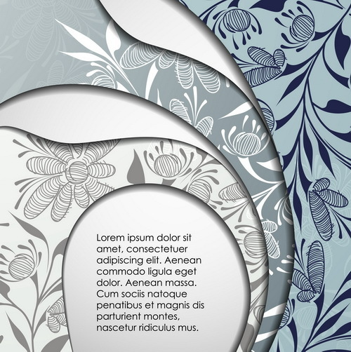 Layers floral background vector material 15