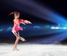 Little girl with figure skating Stock Photo 01