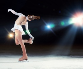 Little girl with figure skating Stock Photo 02