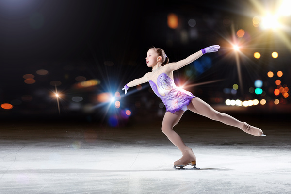 Little girl with figure skating Stock Photo 03
