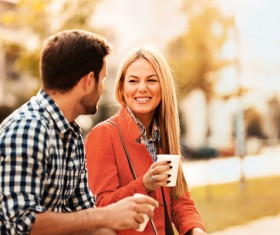Lover drinking coffee to chat Stock Photo