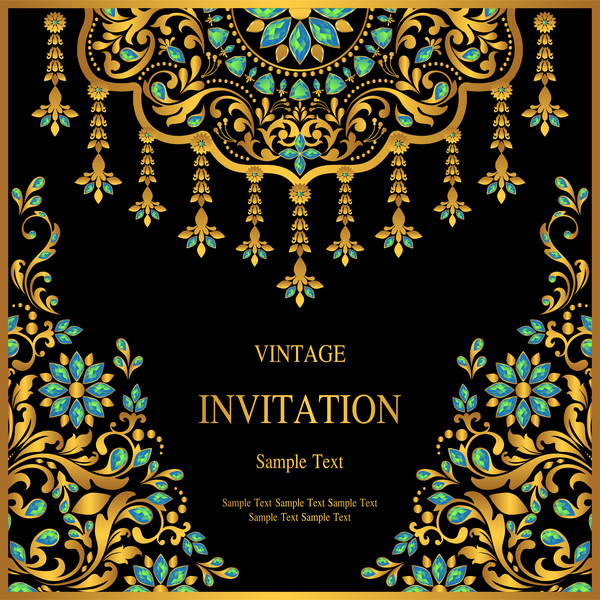 Luxury black invitation card with ornaments vector 01