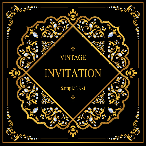 Luxury black invitation card with ornaments vector 02