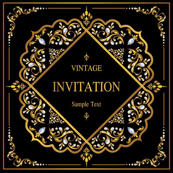 Invitation vector for free download luxury black invitation card with ornaments vector 02 stopboris Gallery