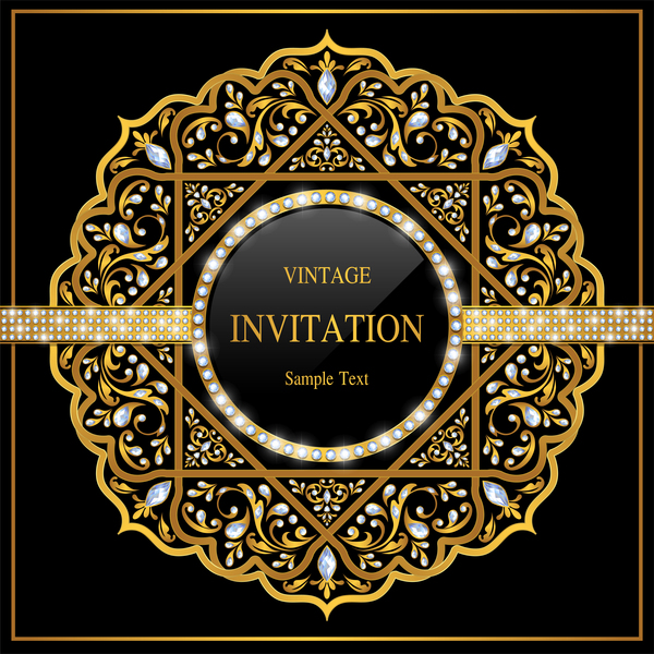 Luxury black invitation card with ornaments vector 03