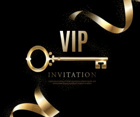 Luxury black with golden VIP invitation card vector 08