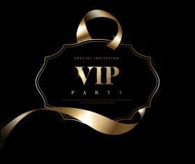 Luxury black with golden VIP invitation card vector 09