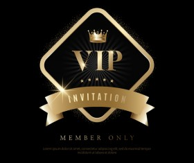 Luxury black with golden VIP invitation card vector 10