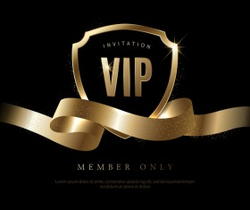 Luxury black with golden VIP invitation card vector 11