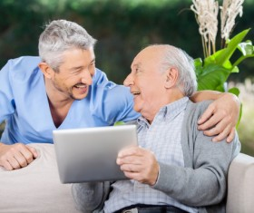 Male carers and elderly Stock Photo 02