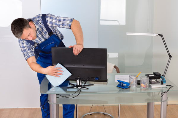 Man Cleaning Computer Stock Photo Free Download