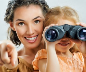 Mother accompanied her daughter to play Stock Photo