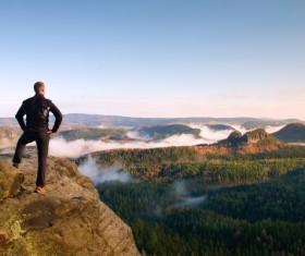 Mountaineering overlooking Stock Photo