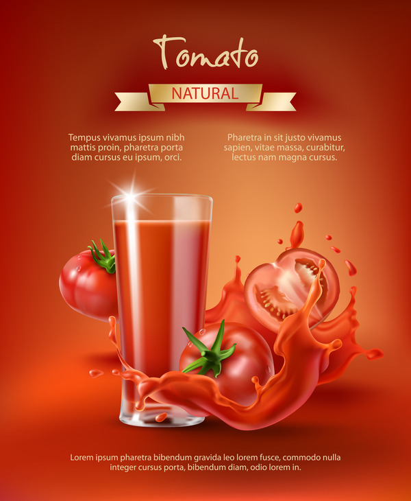 Natural tomato drink poster template vector