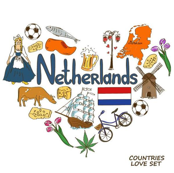 Netherland country elements with heart shape vector