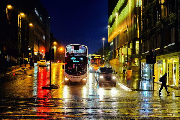 Night city street scene after rain Stock Photo