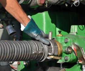 Oil tank car equipment link Stock Photo