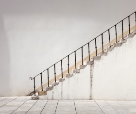 Old steep steel handrail Stock Photo