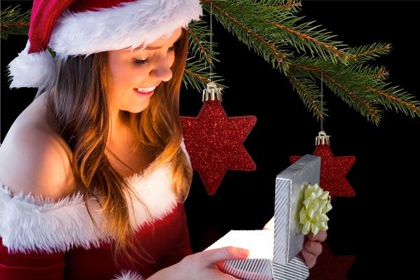 Open Christmas presents happy girl Stock Photo 01