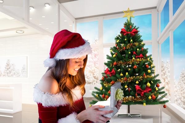 Open Christmas presents happy girl Stock Photo 02