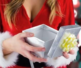 Open the Christmas gift box Stock Photo