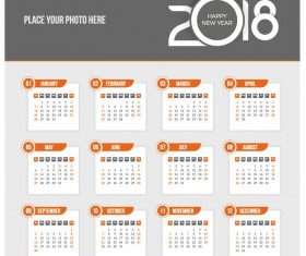 Orange 2018 calendar template vectors