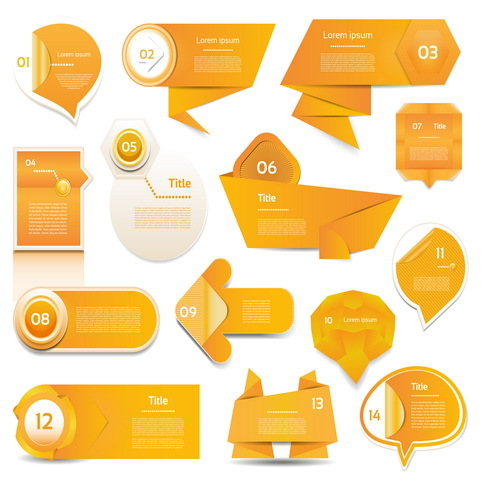 Orange origami banners design vector 01