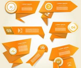 Orange origami banners design vector 02