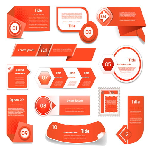 Orange red business website banners vecto